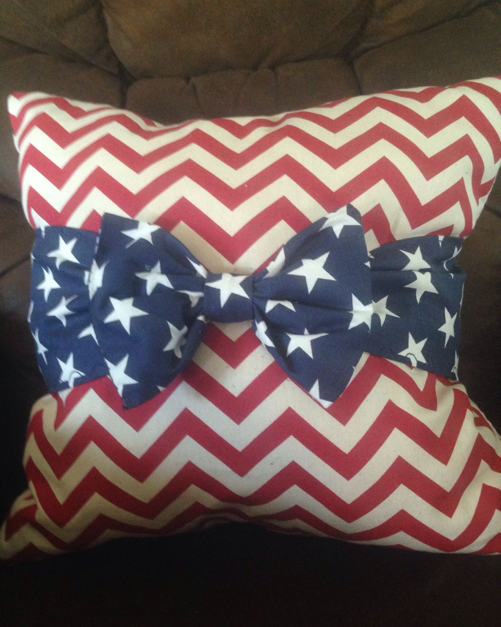 I need to tie Red Bows on my blue pillows on my porch for 4th of