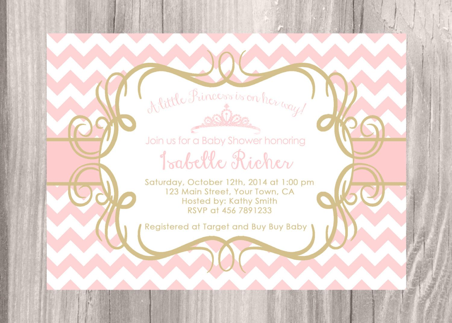 Little Princess Baby Shower Invitation. Pink chevron and gold baby ...