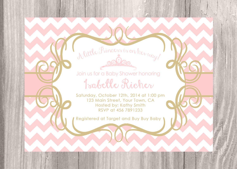 little princess baby shower invitation pink chevron and gold baby shower invitation baby girl shower princess shower digital file