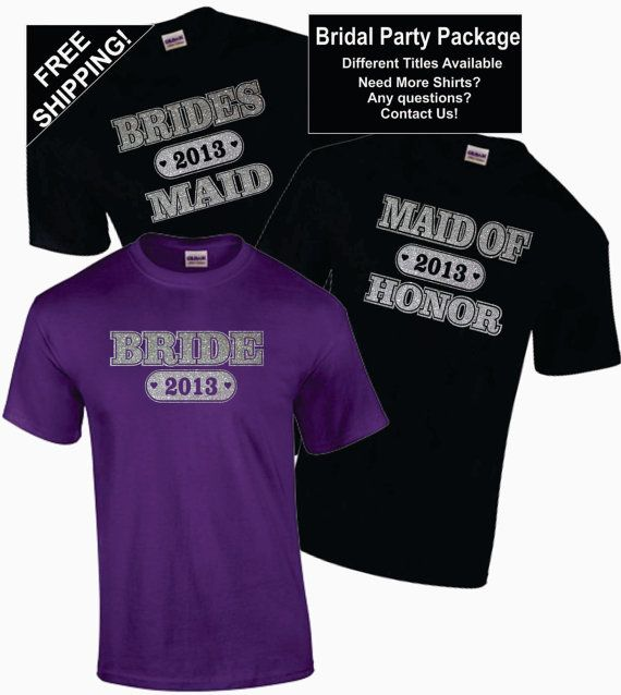 7 Bridal Bachelorette Party Shirts Package Lot Of Wedding Customized Personalized T Glitter Free Shipping