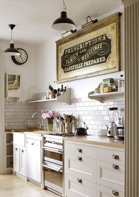 White Subway Tile Open Shelving Vintage Sign In Country Kitchen - Cocina-retro-vintage