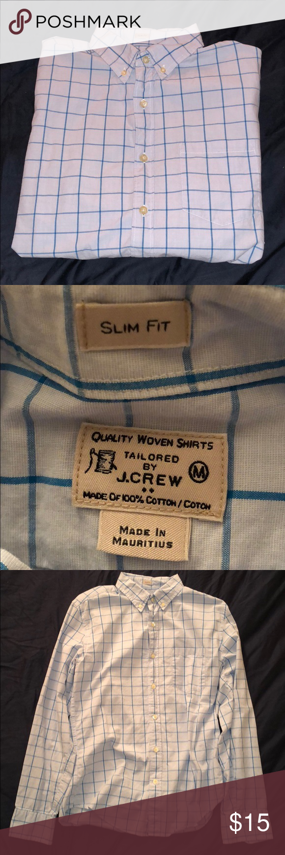 Men's Blue Checkered J. Crew Button Up In perfect condition, two different color blues. I will accept offers or try bundling for some really great savings. J. Crew Factory Shirts Casual Button Down Shirts