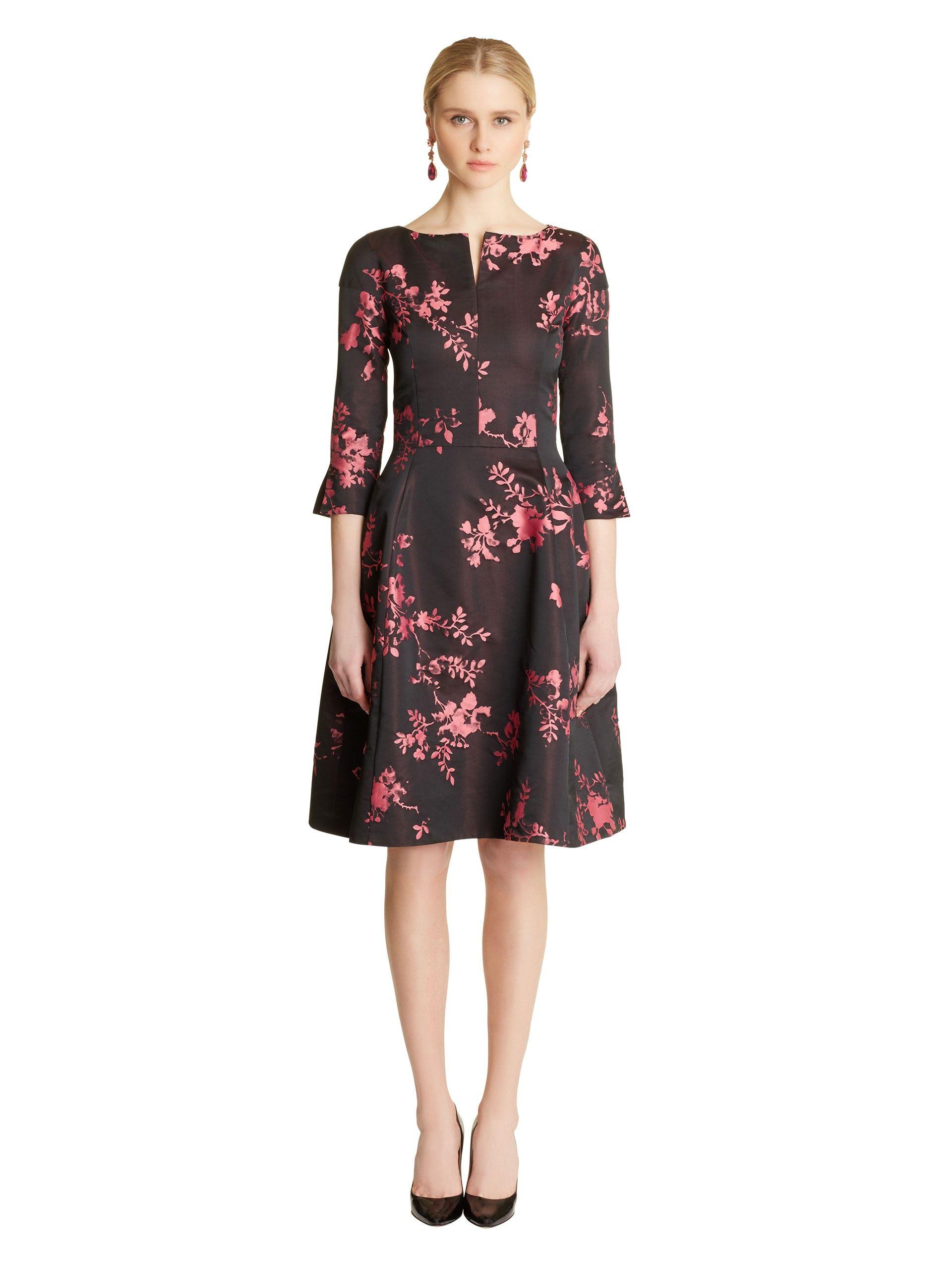 Oscar De La Renta Photographic Floral Jacquard 34 Sleeve Dress