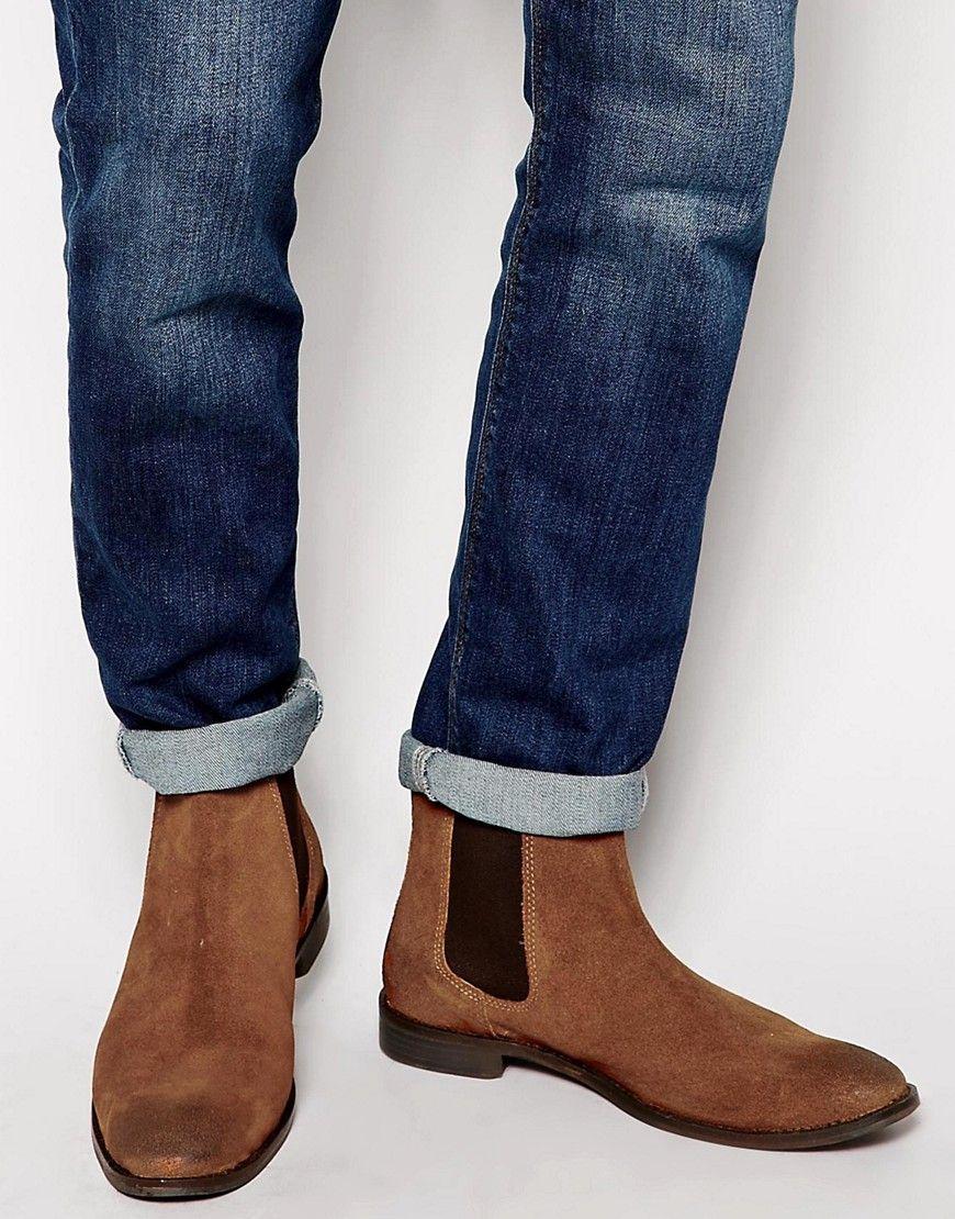 ASOS Chelsea Boots in Tan Suede - Tan   Men s Fashion   Chelsea ... 96aea17dd6f3