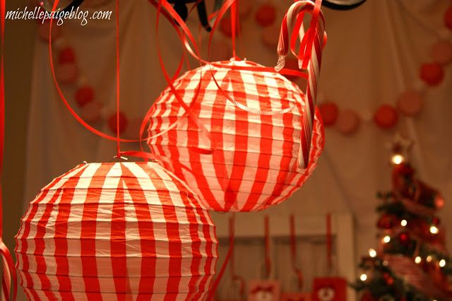 michelle paige: Red and White Candy Cane Party Decorating