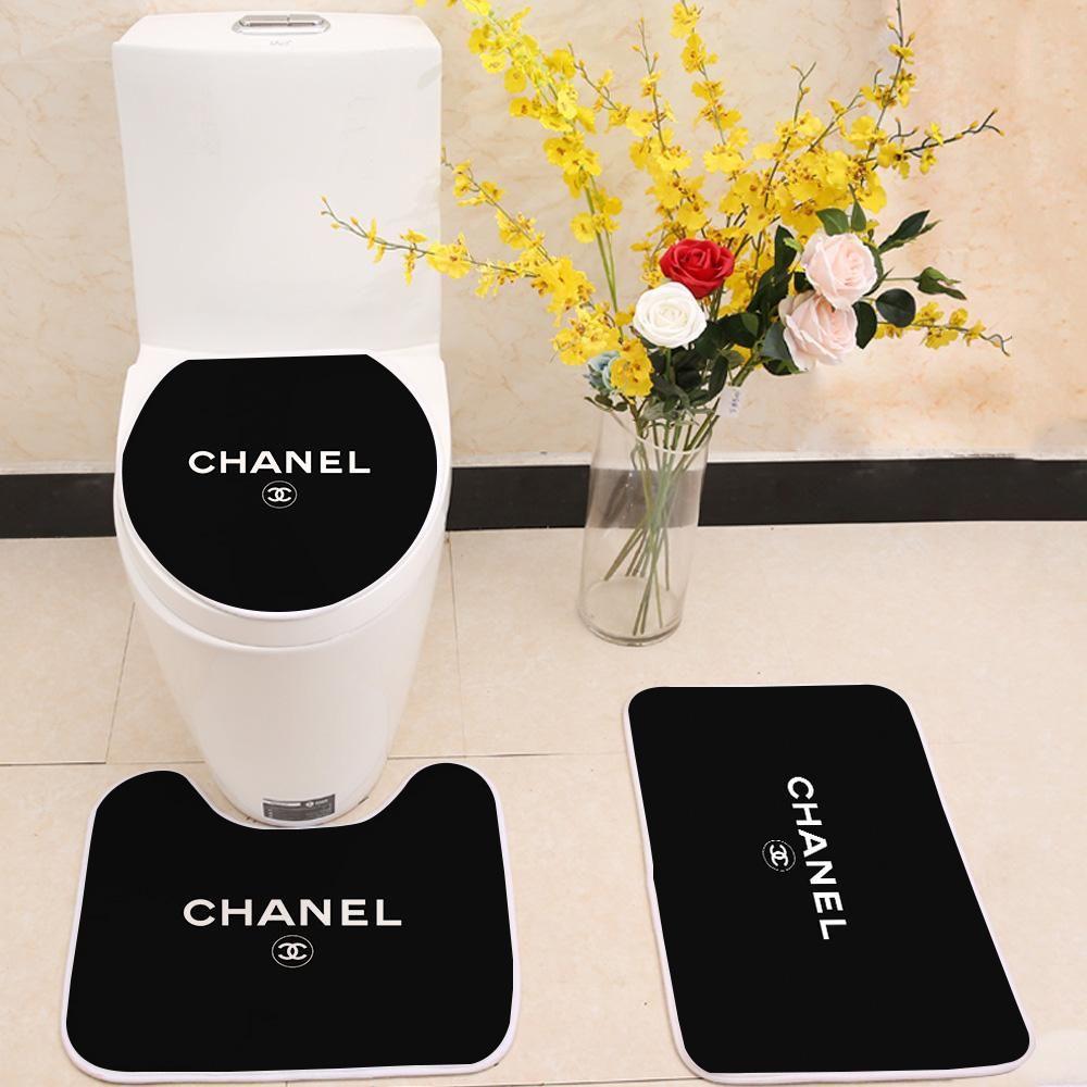 Chanel Logo Floor Carpet Toilet Rug Lid Cover 3 Piece Bath Mat Set