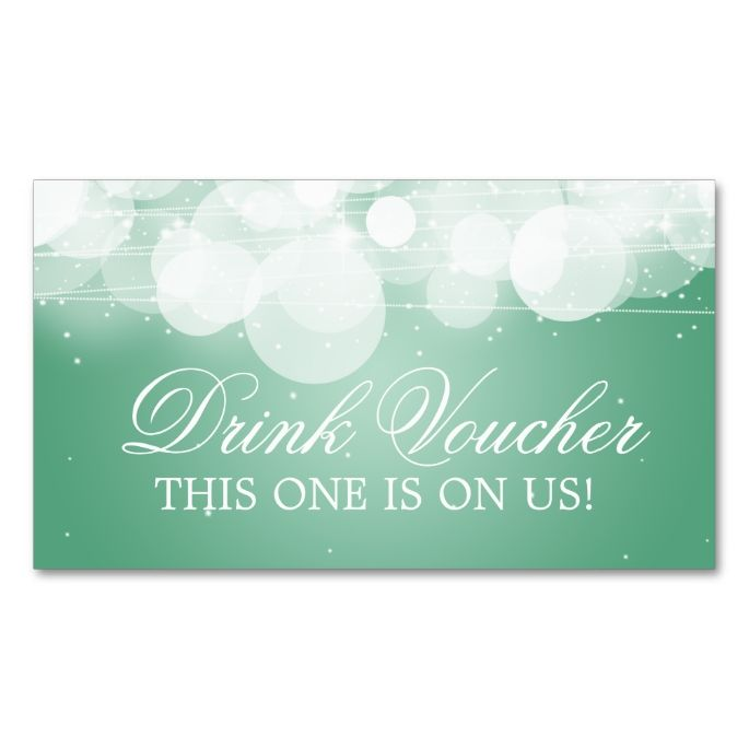 Elegant Drink Voucher Glow and Sparkle Mint Double-Sided Standard - make your own voucher