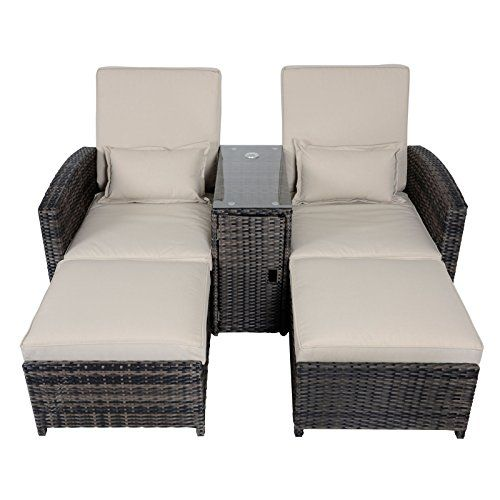 Antigua Rattan Wicker Reclining Sun Lounger Companion Chair Garden Furniture  Set U2013 Garden Rattan Furniture