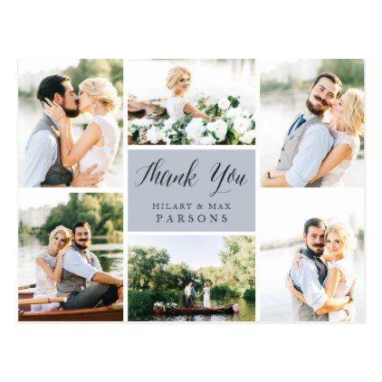 Cursive Wedding Photo Collage Thank You Postcard - script gifts