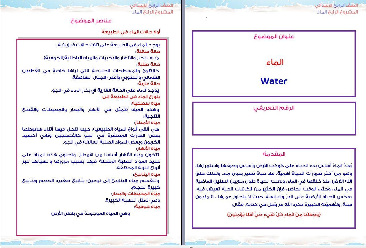 نموذج مشروع بحثى عن الماء للصف الرابع الابتدائى Bullet Journal Journal