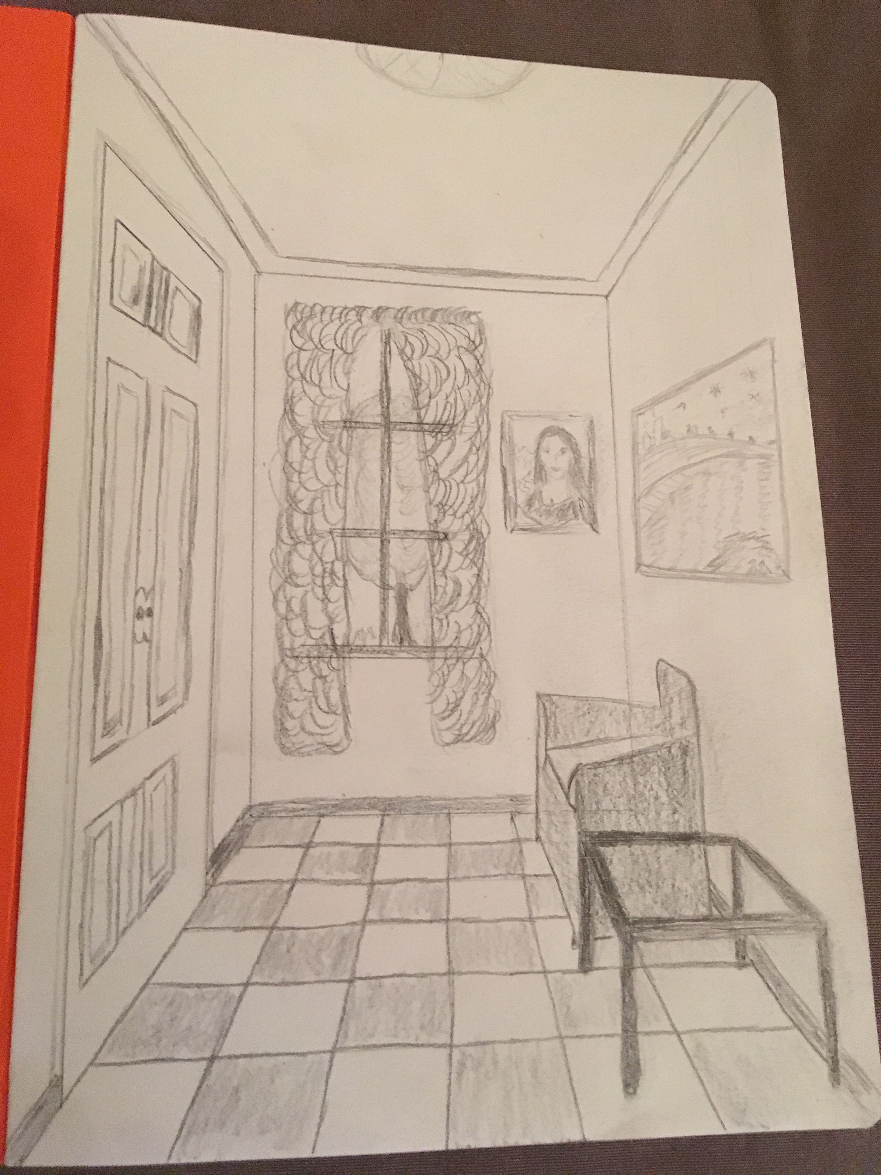 One Perspective Drawing Room: One Point Perspective Drawing Of Room With Art Pieces Seen