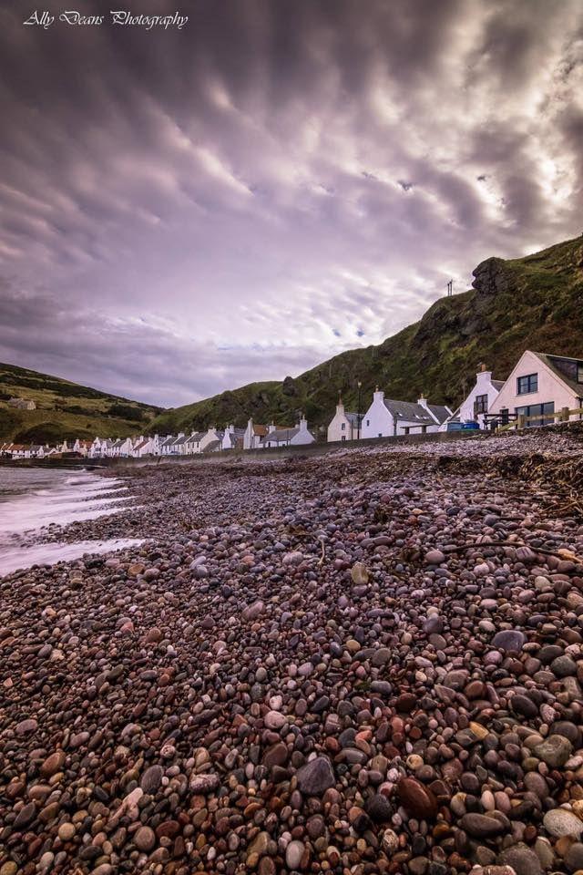 Pennan Village pebbled beach, Aberdeenshire coast, Scotland