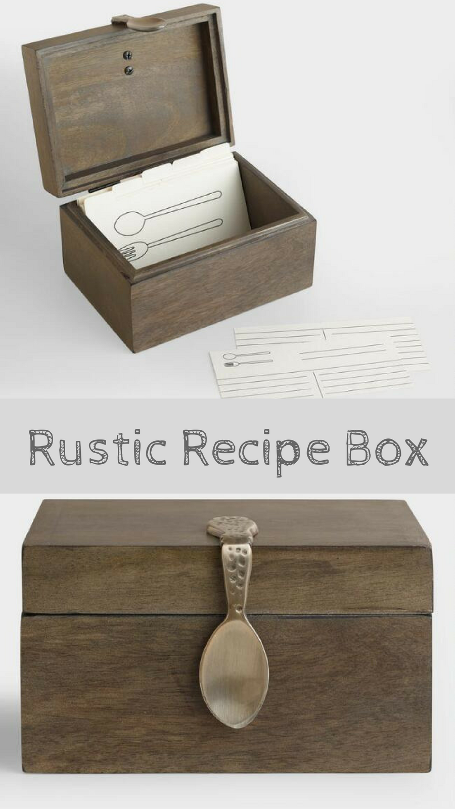 Wood Recipe Box This Is A Beautiful And I Love The Vintage Style Spoon Homedecor Rustic Farmhouse Vintagestyle Organization Storage