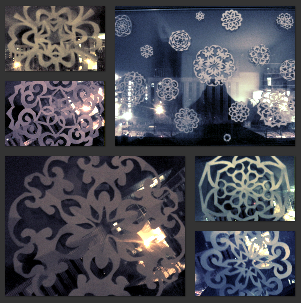 paper snow flake decorations for my dorm window.. everyone deserves a white christmas!!(submitted by Jane0711, thanks!)