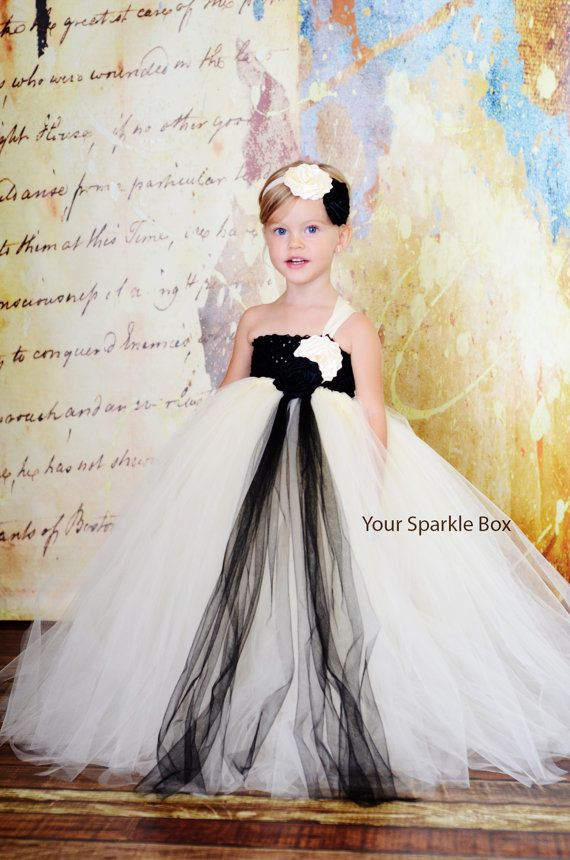 40c8377b13c8 Ivory and Black wedding flower girl dress by YourSparkleBox, $94.95 ...