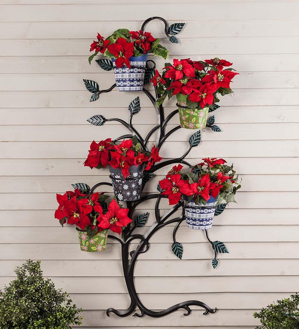 Hanging Tree Trellis With Pot Holders Arbors Metal Trellis Flower Pots Vertical Garden Wall