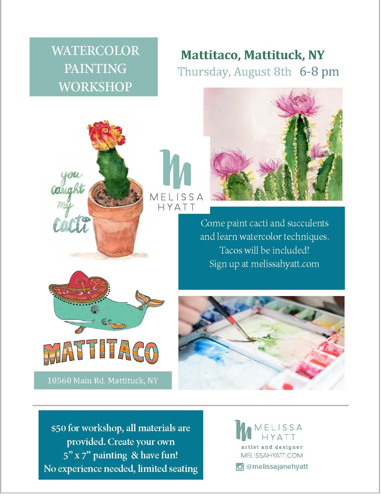 Watercolor Workshop At Mattitaco My Shop Watercolor Painting