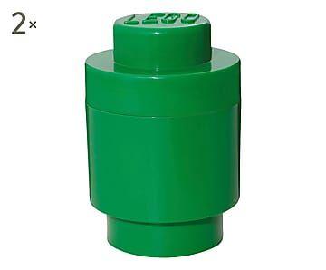 Set di 2 contenitori multiuso impilabili verde - 12x18 cm