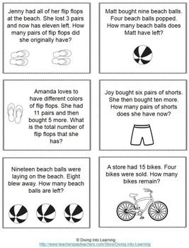 Word Problems Summer Theme First Grade Math Word Problems Word Problems Math Word Problem Strategy