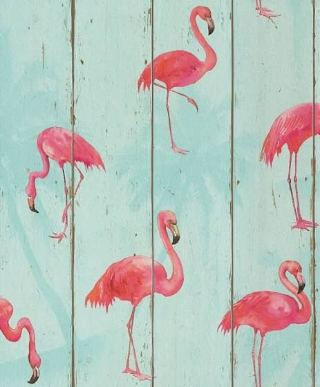 Tapete Flamingo Holz