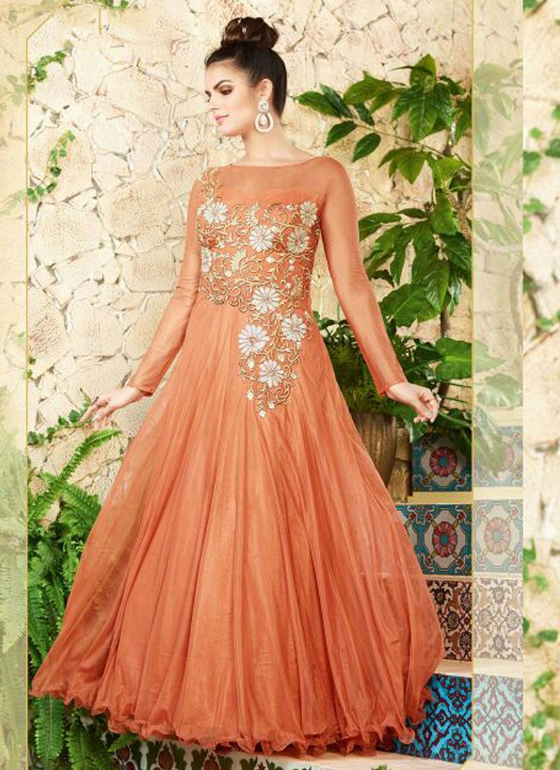 peach-net-party-wear-embroidered-work-gown | Latest gowns ...
