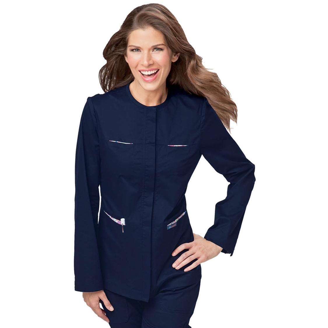 Koi Stretch Mariah Scrub Jacket in Navy at the ...