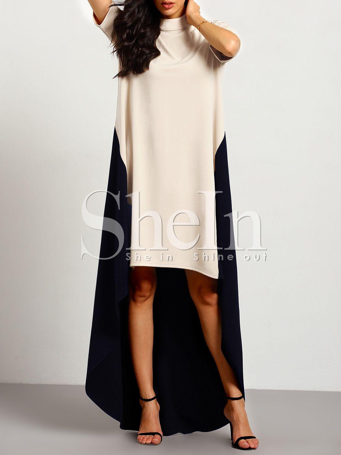 Kontrastfarbiges Kleid vorne kurz hinten lang-aprikose und schwarz ...
