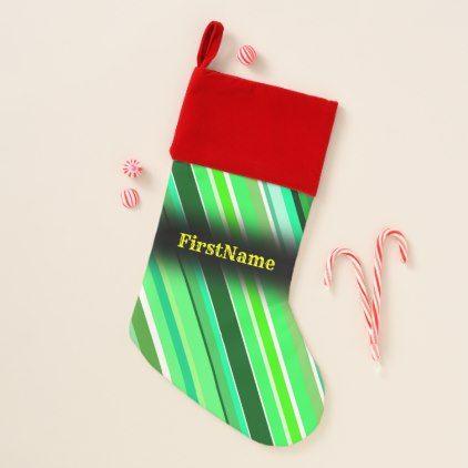 Various Shades of Green Stripes w/ Custom Name Christmas Stocking ...