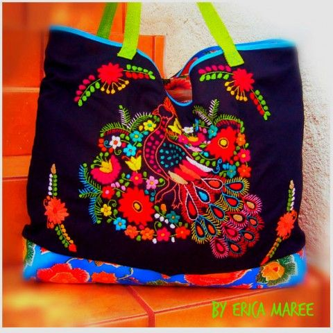 Large Beach Bag with Mexican Embroidered detail | Erica Maree ...