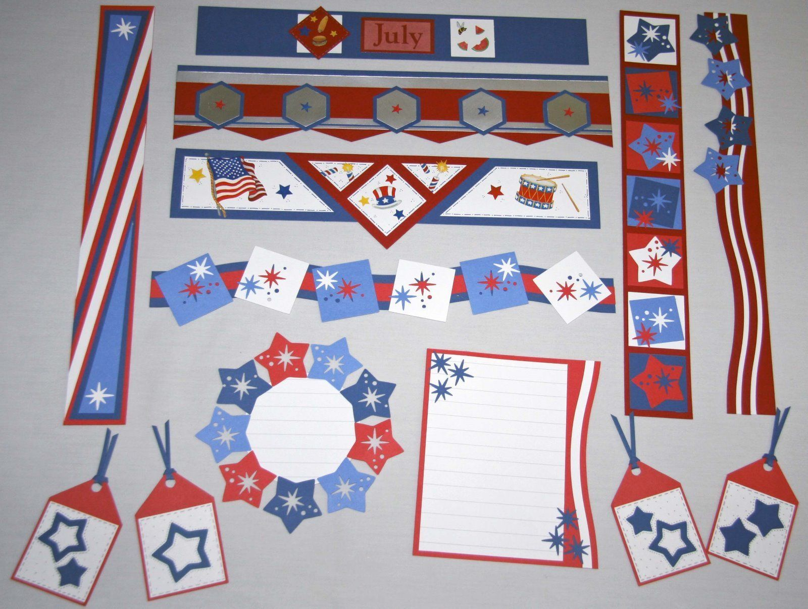 Two 4th of July Silhouette Die Cut Embellishments DIY Cards Crafts Scrapbooking