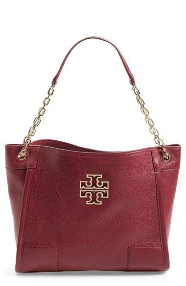 39c2268dfa8 Tory Burch  Small Britten  Leather Tote available at  Nordstrom love the  brown color!!