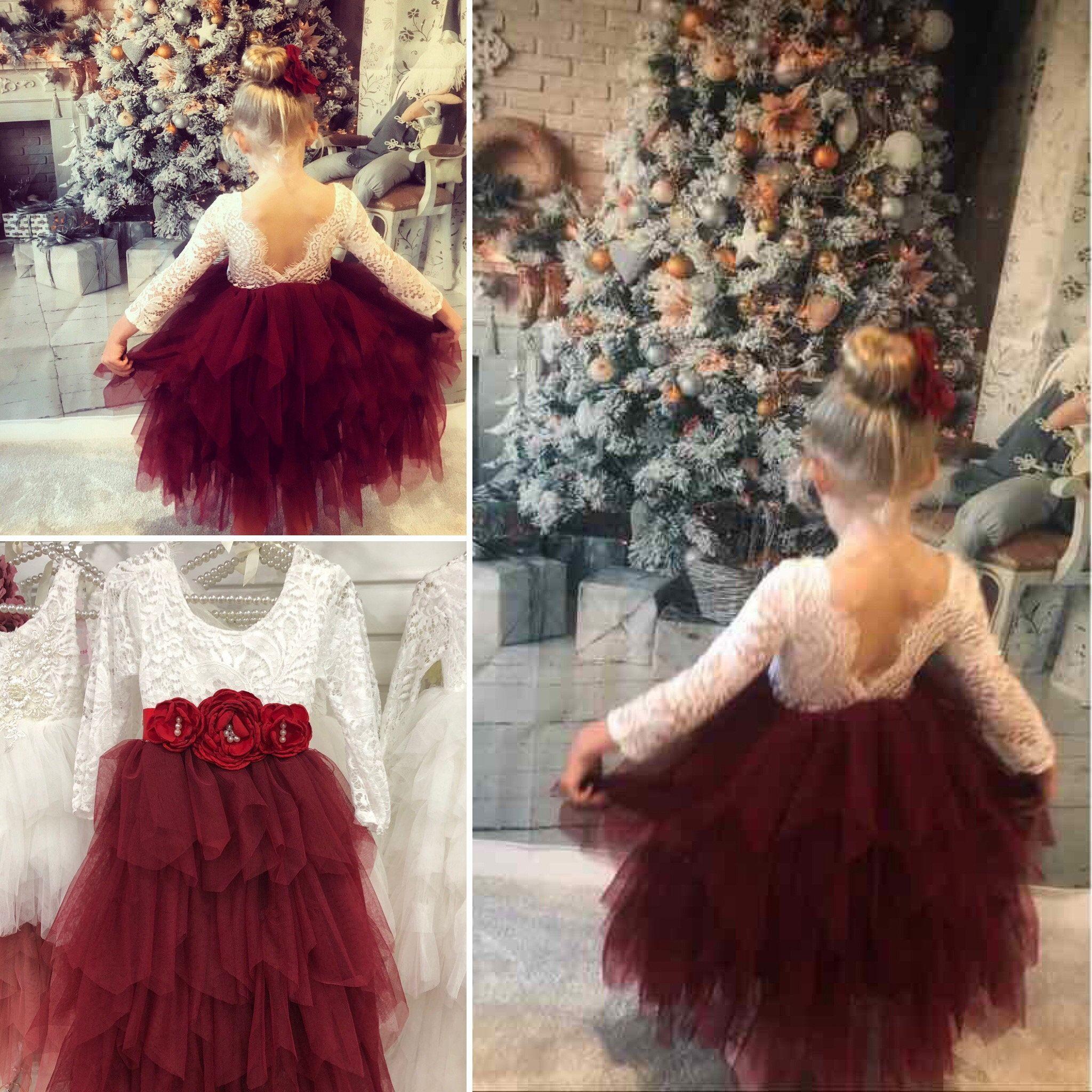 Long Ruffles Bohemian Flower Girl Dress with Flower Corsage Belt Wine Red