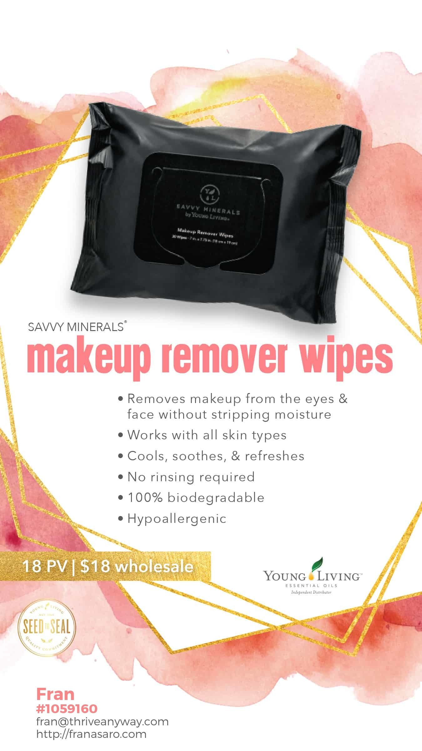 Savvy Minerals Makeup Remover Wipes NEW from Young Living