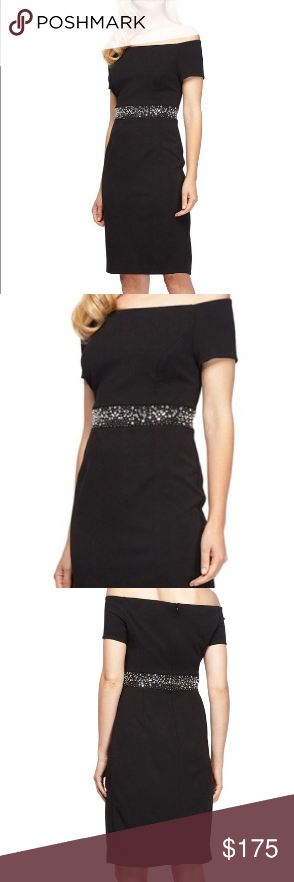 BNWT Alex Evenings Dress See above description. Black. Stretchy material. Zipper in the back. Embellished beading around waist. Brand new with tags. Purchased from Nordstrom. Never worn. Alex Evenings Dresses