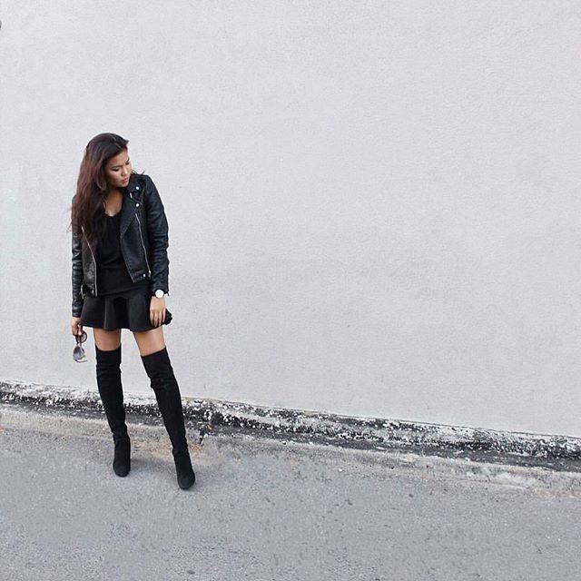 @chloezhaang rocking black on black on black ⚫ Shop our skirt online now…