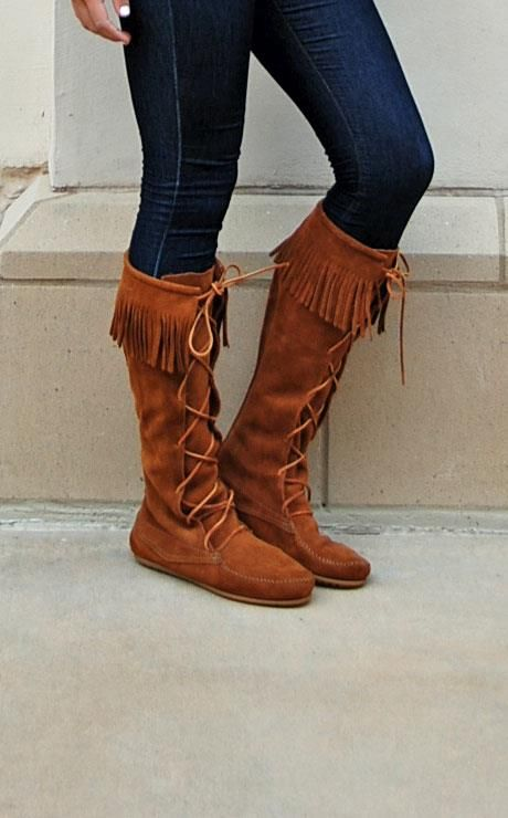 LOVE our Minnetonka Tall Laceup fringe Boots. #Shoedipity