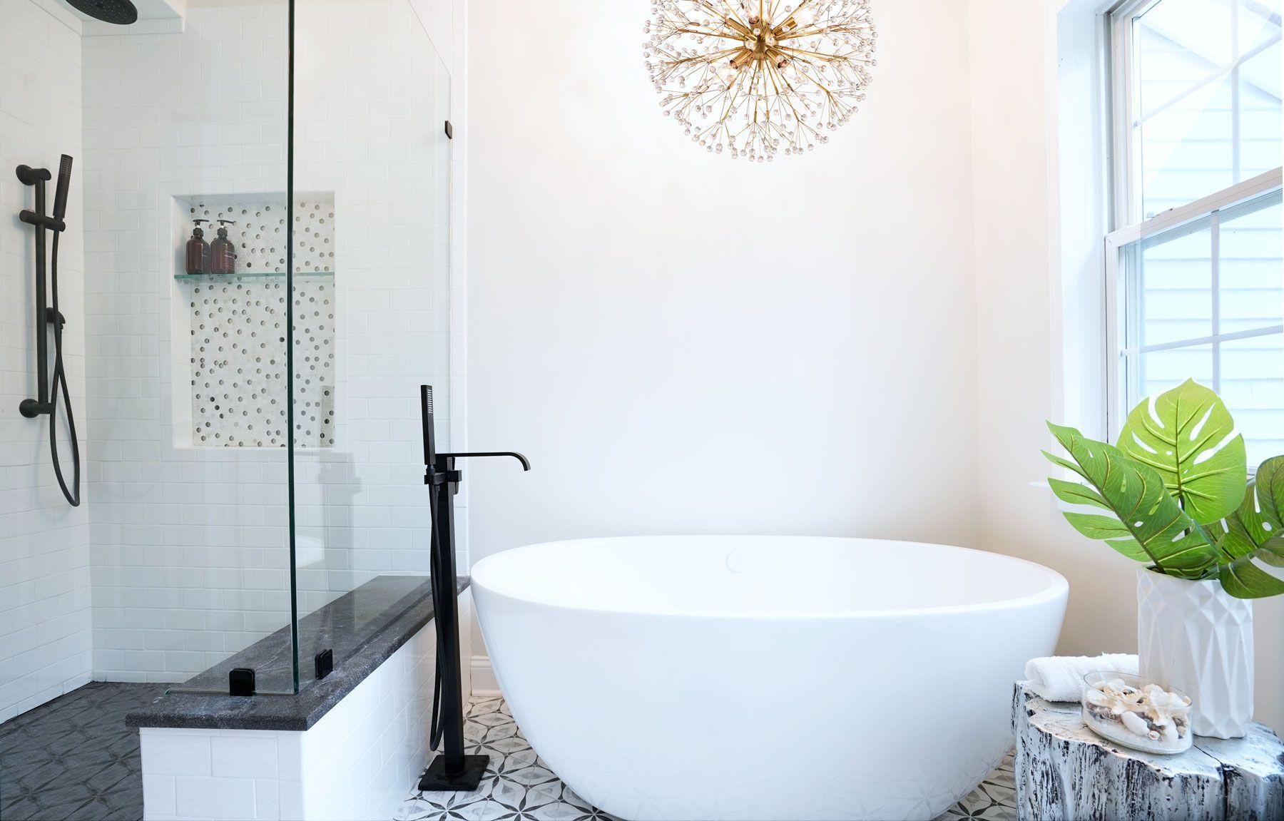 Master Bathroom Remodel Black Matte Fixtures Grey Black And