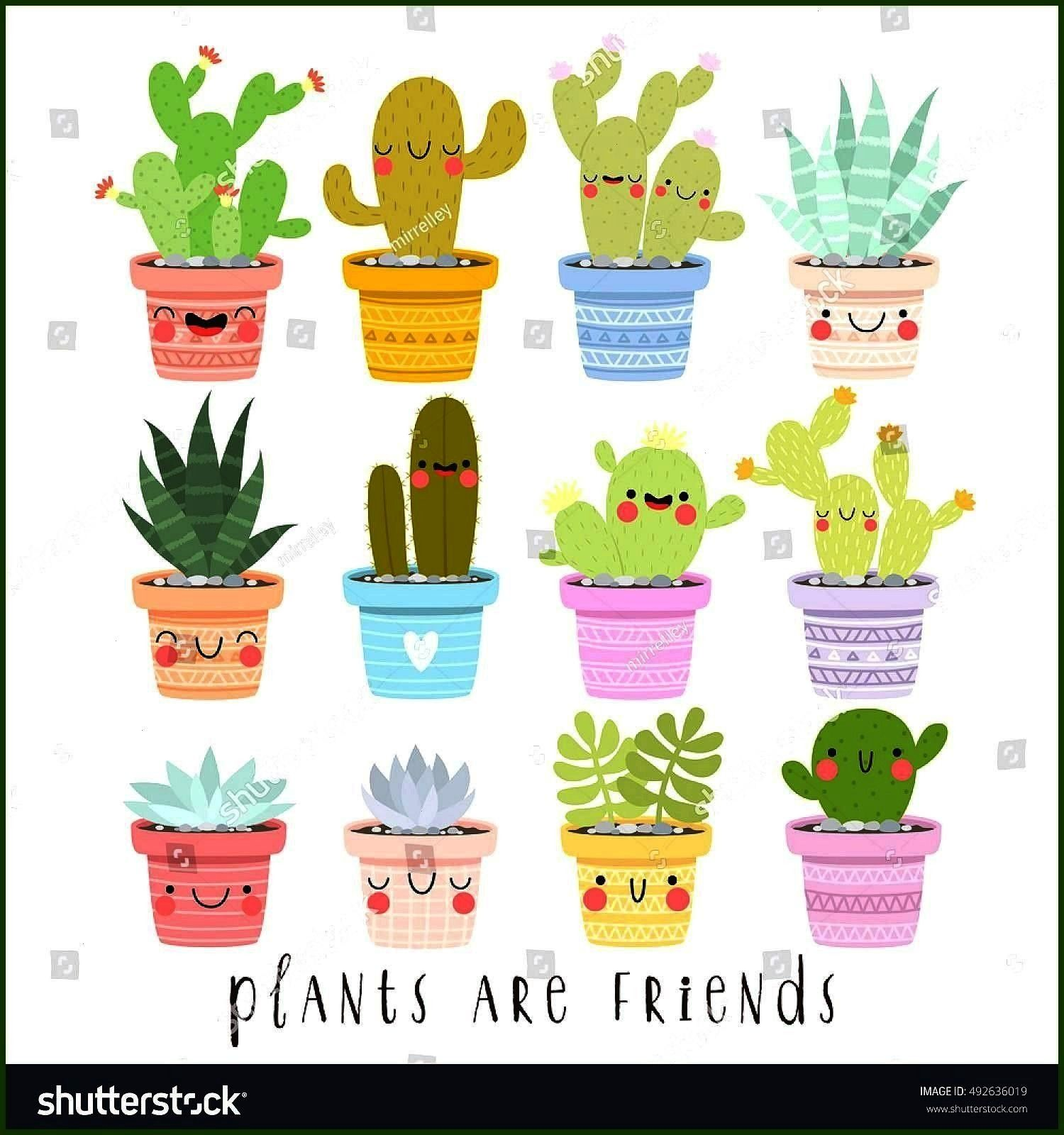 illustrations of cute cartoon cactus and succulents with funny faces in pots and with plants are friends text message can be used for card big set of illustrations of cut...