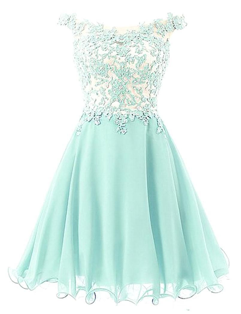 Offshoulder applique mint green homecoming dress with embellishment
