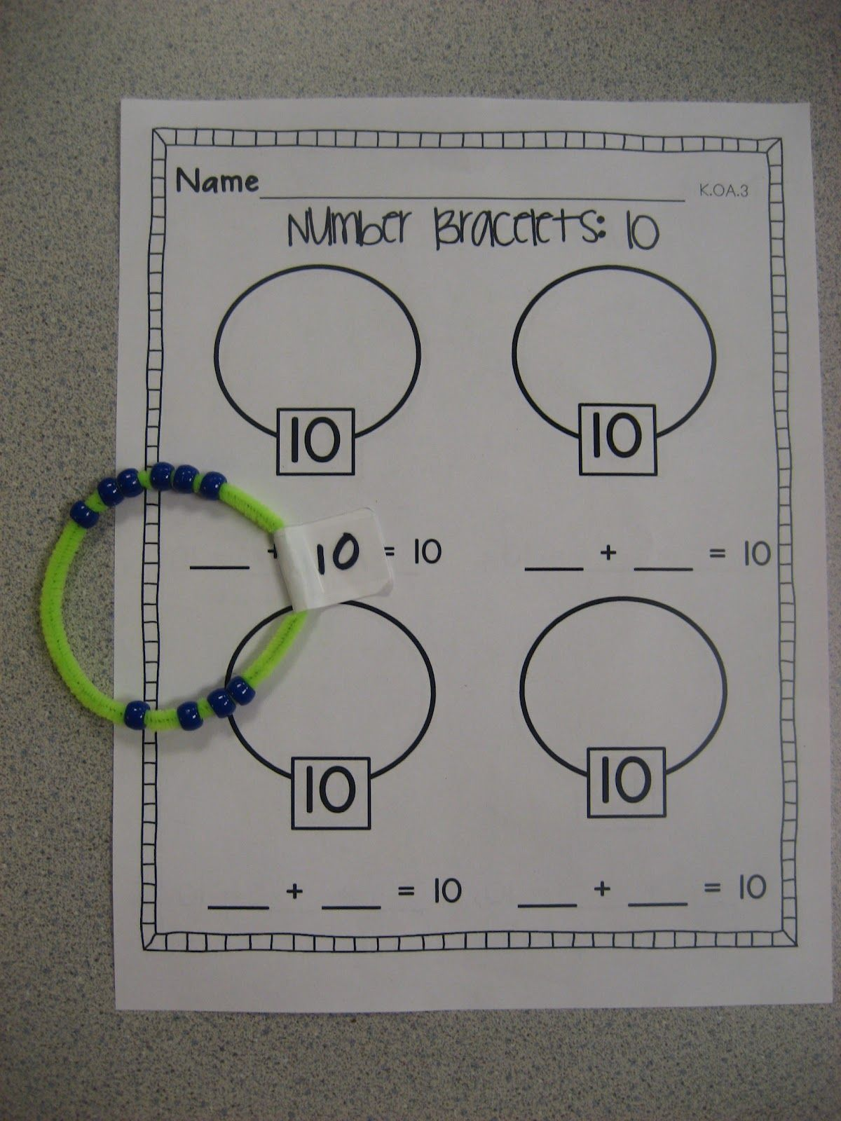 Number Bracelets Common Core K Oa 3 School