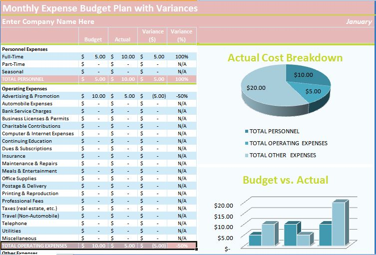 budget tracking excel template