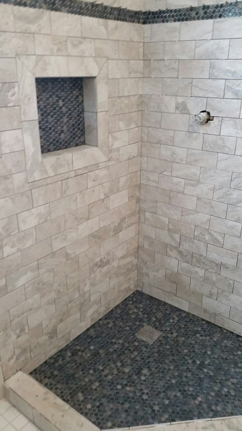 Wall Tile Is Brennero Thermae Pearl 3 X 6 1 2 Floor Insert And Border Tile Is Shower Stall Shower Design Bathrooms Remodel