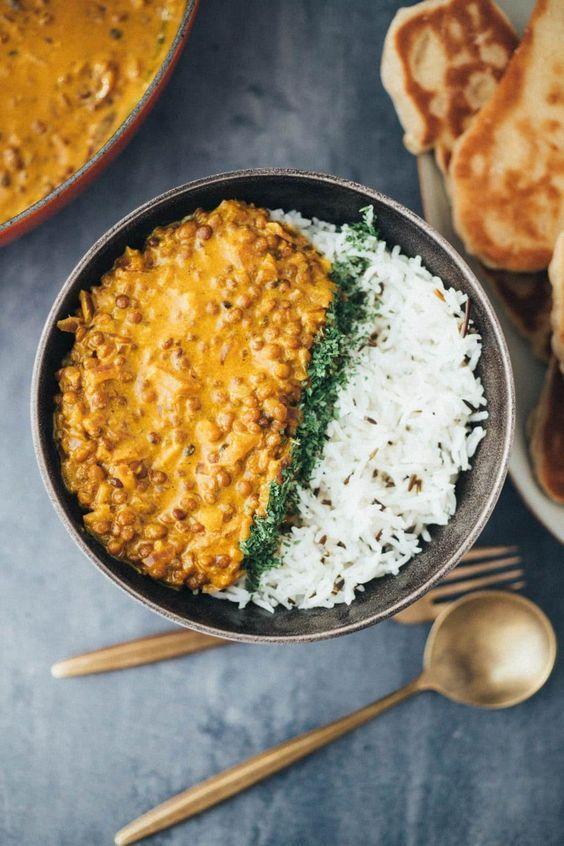 einfaches veganes Linsen Dal Rezept in 30 Minuten zubereitet #indianfood