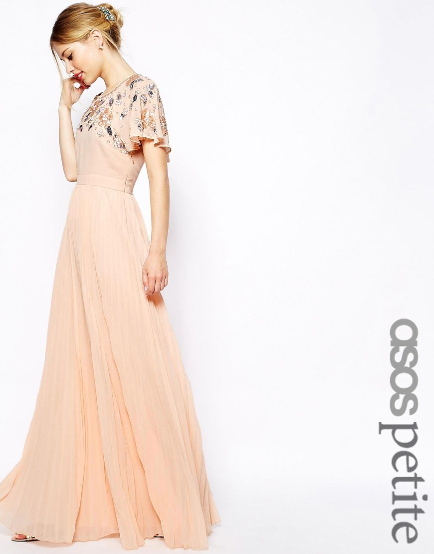 Asos wedding guest dresses with sleeves  Image  of ASOS PETITE Embellished Sleeve Pleated Maxi  finalised