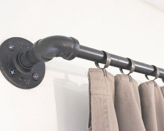 Industrial Pipe Window Curtain Rod, Rustic Gun Metal Gray Modern Drapery Hanger, Farmhouse Drapery Rod Window Treatment, Bestseller