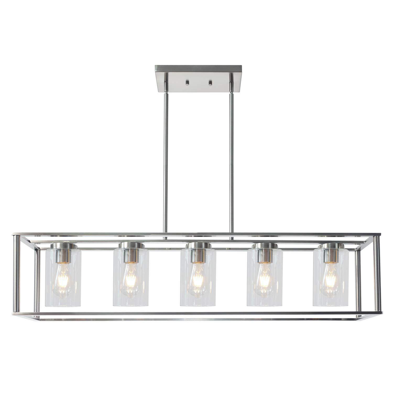 Vinluz Contemporary Chandeliers Brushed Nickel 5 Light Modern
