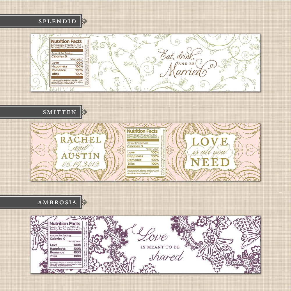 DIY printable custom wedding water bottle label design template ...