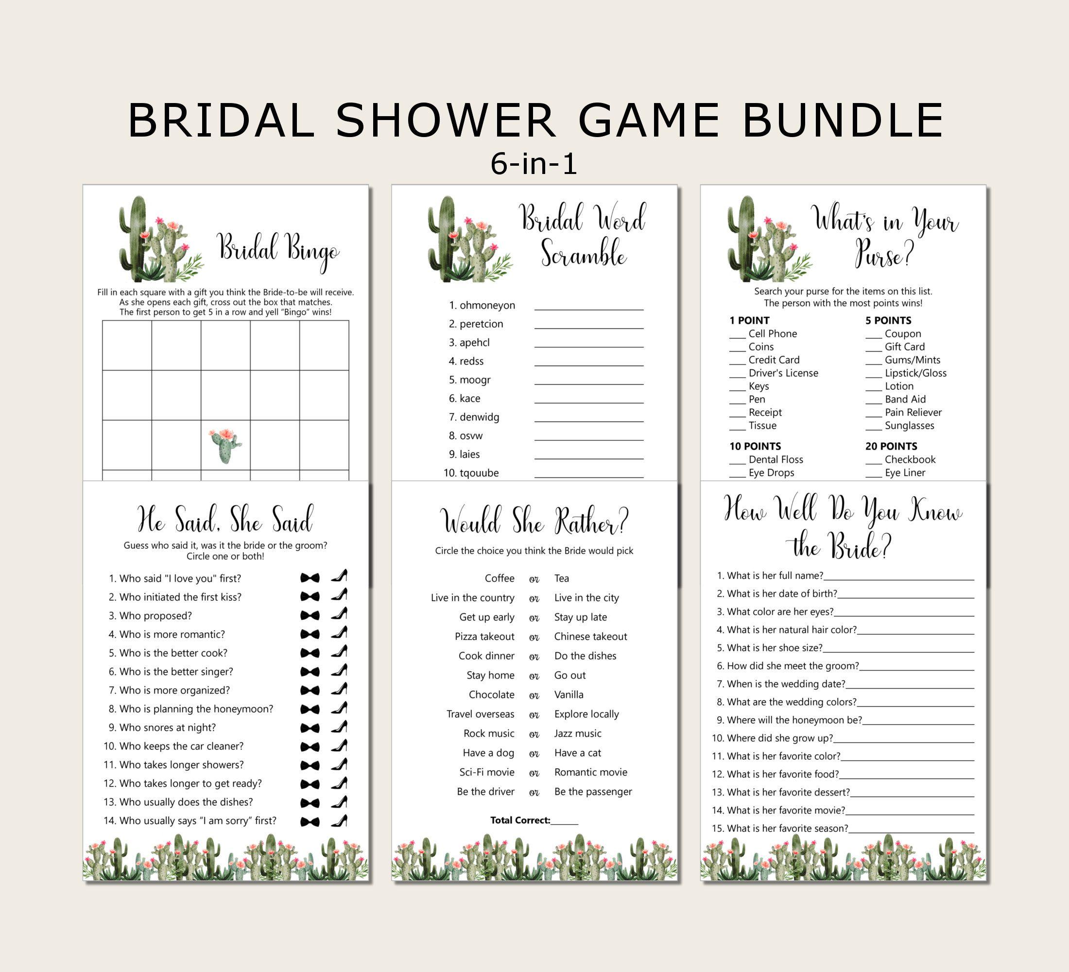 Succulent Cactus Bridal Shower Game Bundle Games Package Etsy In 2021 Bridal Shower Games Cactus Bridal Wedding Shower Games