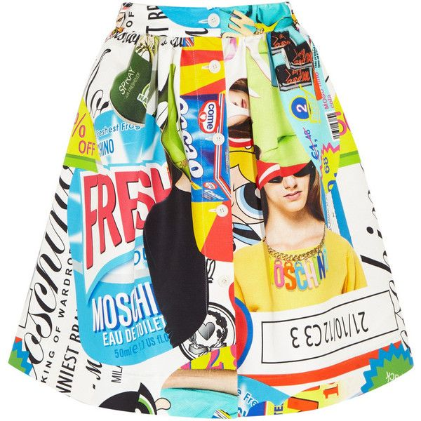 Moschino Printed cotton-blend faille skirt (€580) ❤ liked on Polyvore featuring skirts, blue, moschino skirt, print skirt, blue print skirt, multi color skirt en multi colored skirt