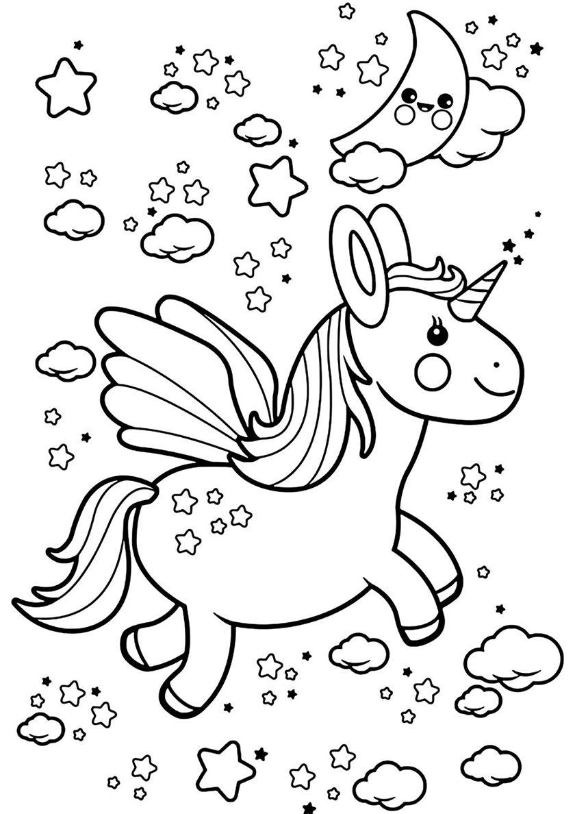 Travelling Through The Clouds High Quality Free Coloring From The Category Unicorn More Printable Pict Unicorn Coloring Pages Coloring Pages Coloring Books